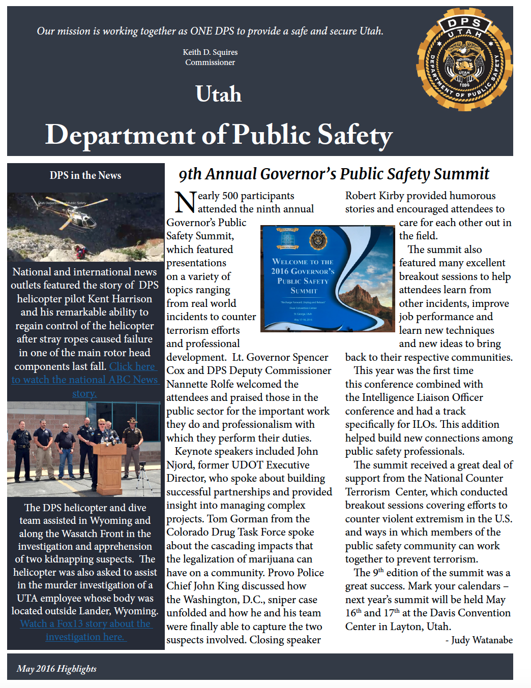 Screen cap of front page of DPS highlights document