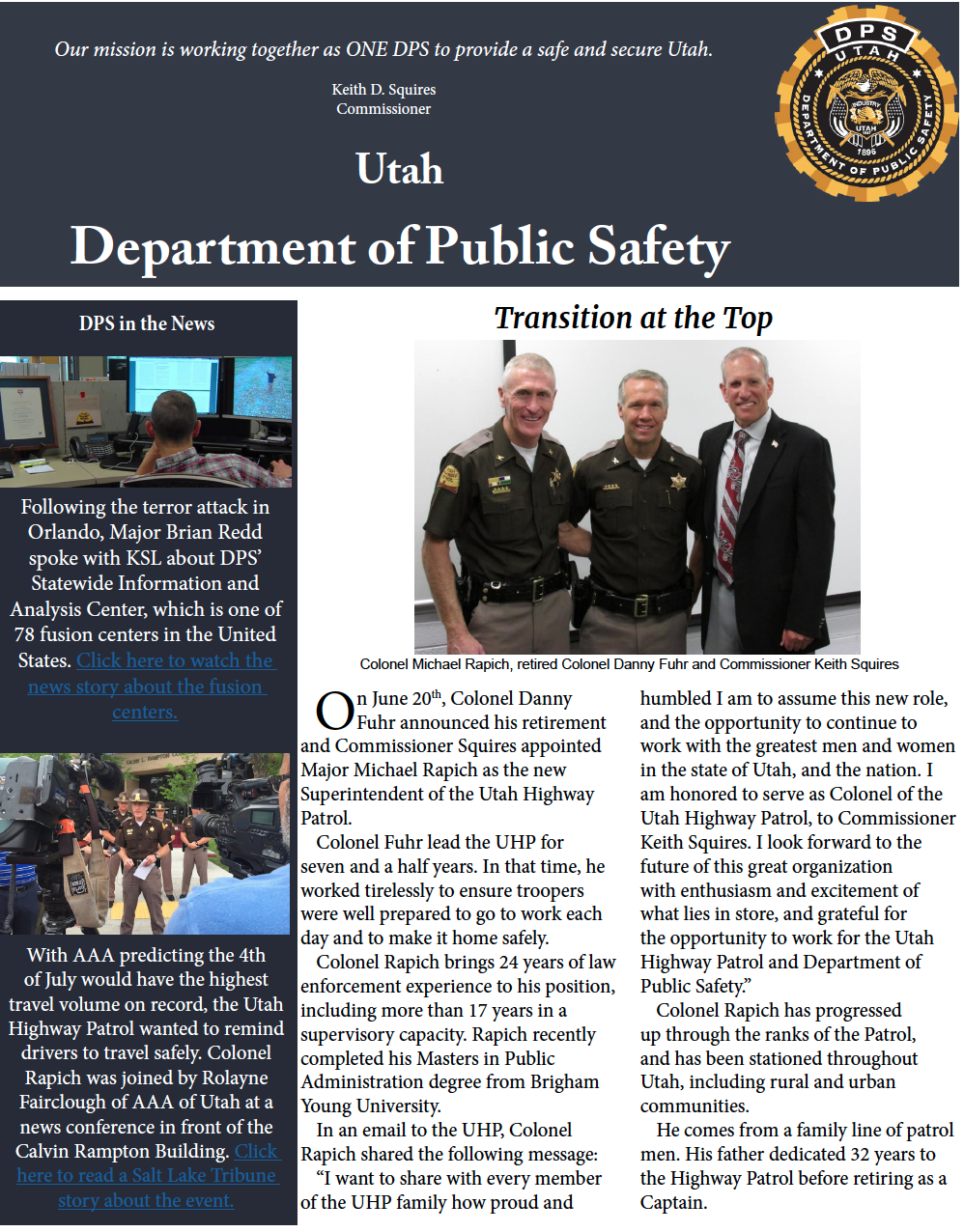 Screen cap of the front of the DPS June Highlights