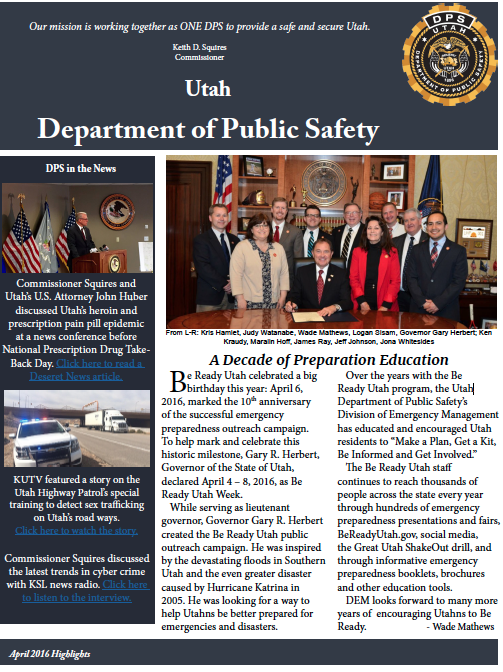 Screen cap of front page of DPS highlights